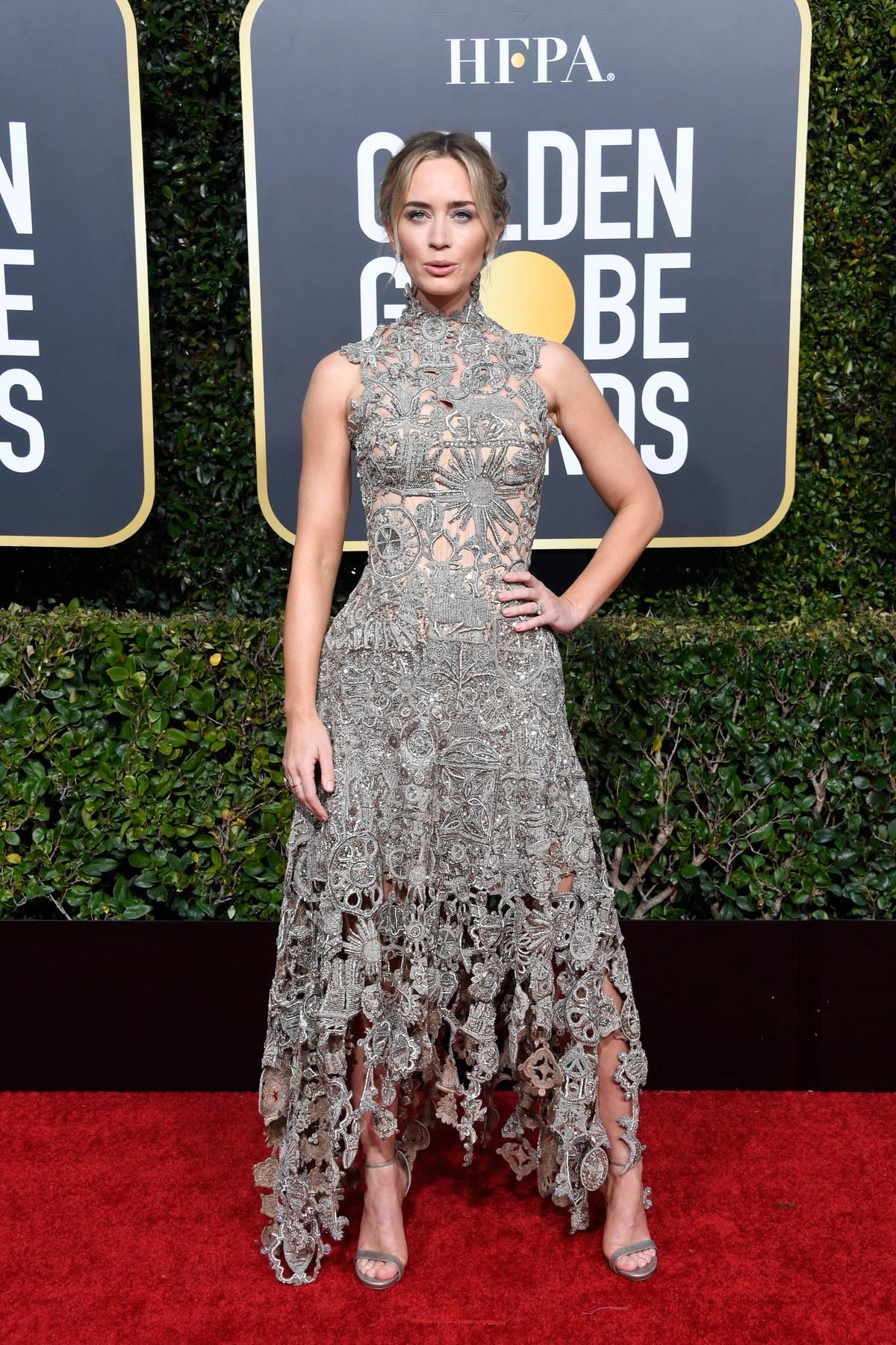 Emily Blunt wearing Alexander Mcqueen Golden Globes