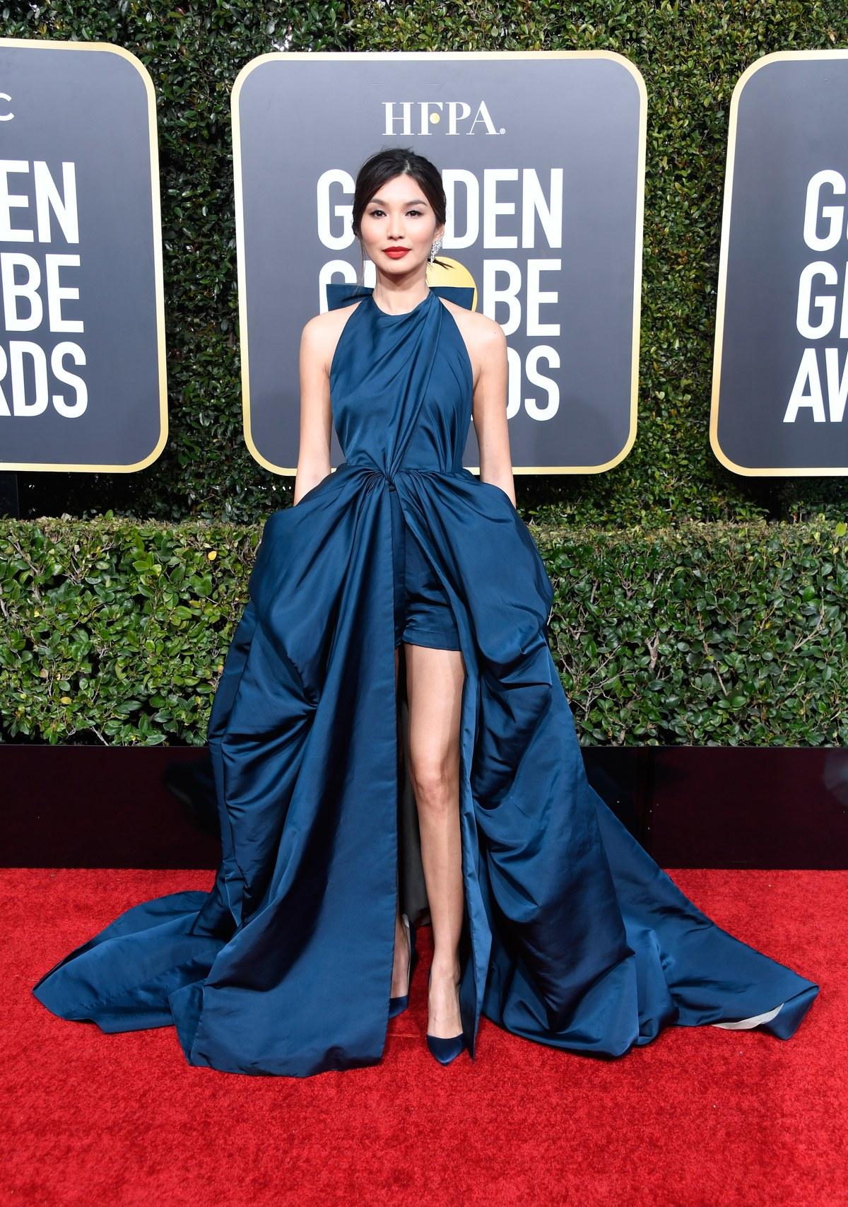 Gemma Chan wearing Valentino Golden Globes