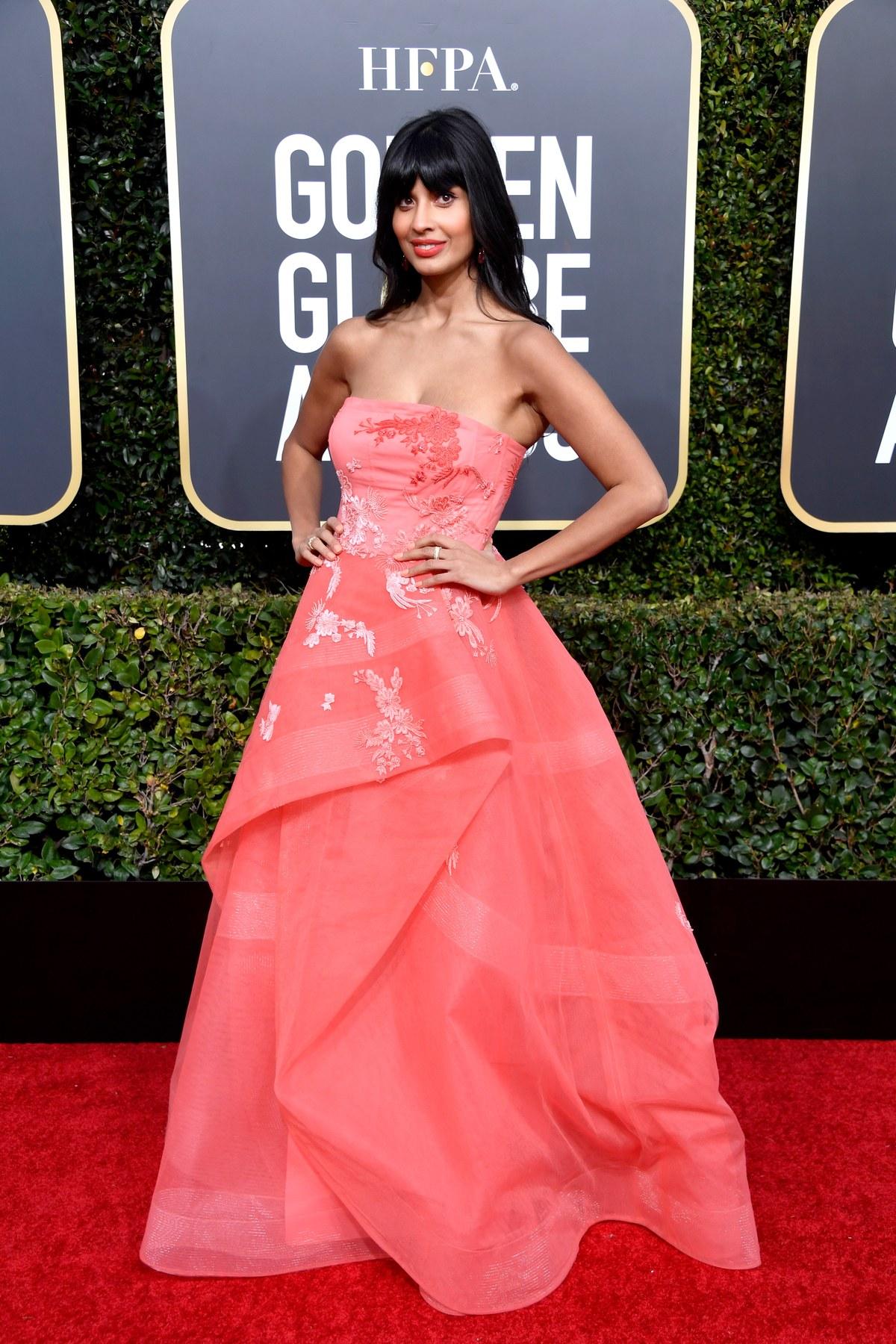 Jameela Jamil wearing Monique Lhuillier Golden Globes