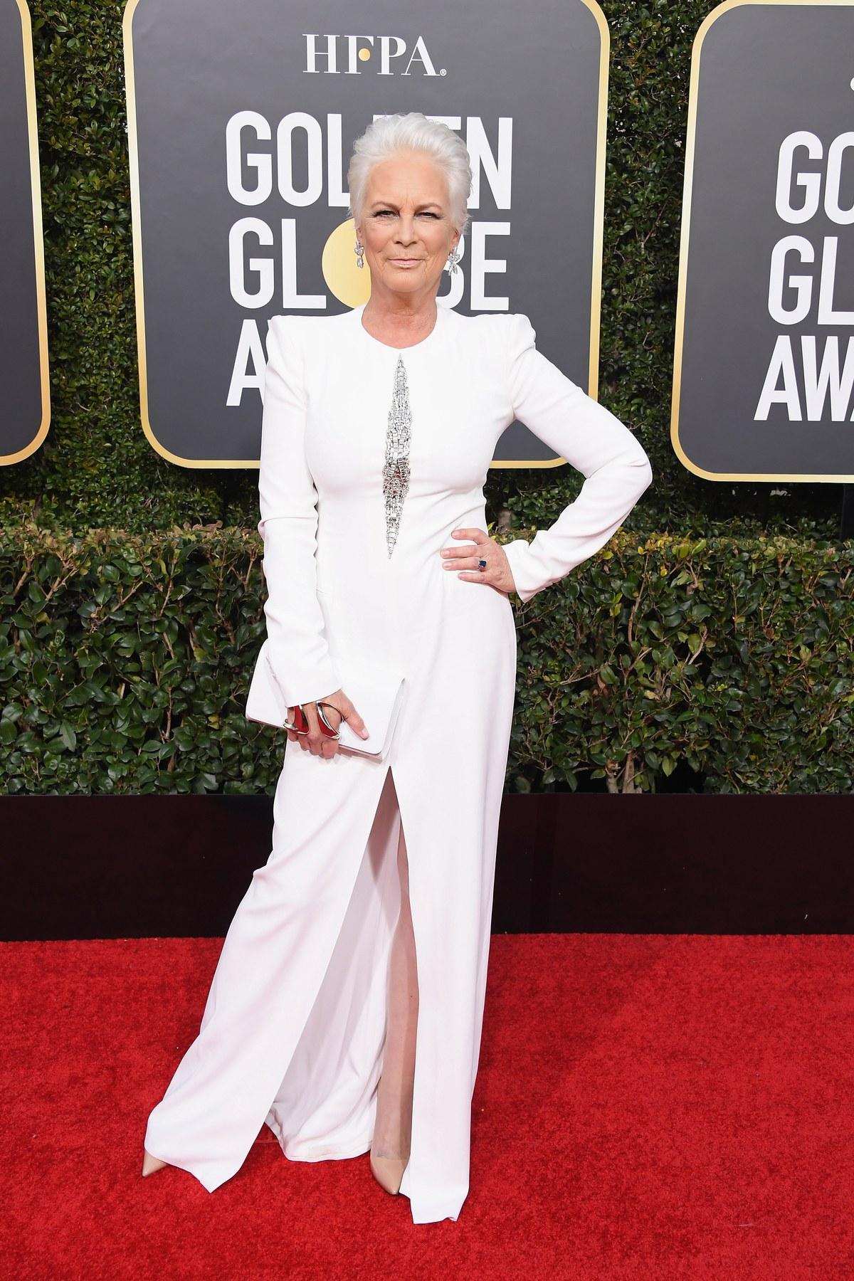 Jamie Lee Curtis wearing Alexander Mcqueen Golden Globes