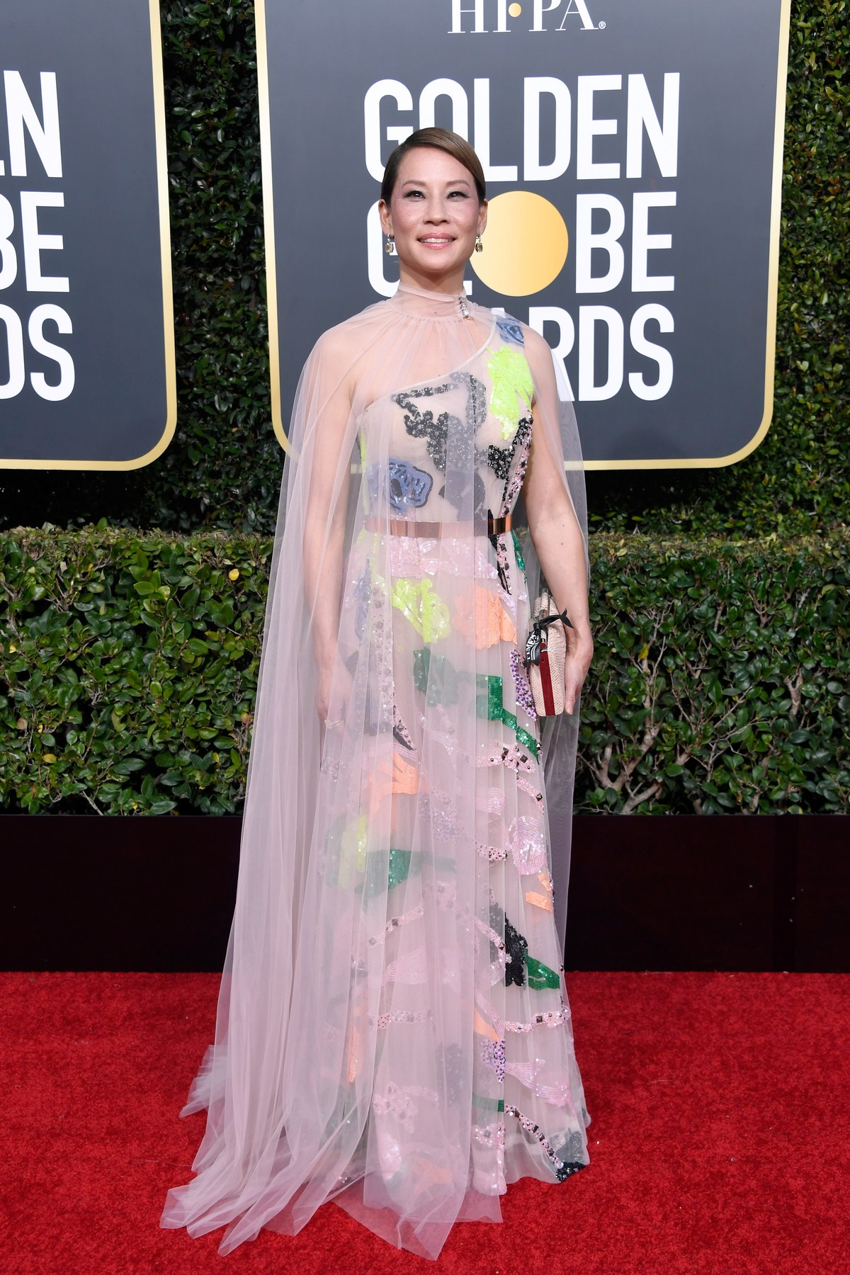 Lucy Liu wearing Galia Lahav Couture Golden Globes